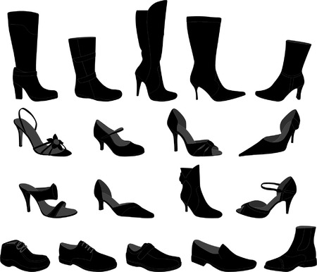shoe laces: shoes collection - vector Illustration