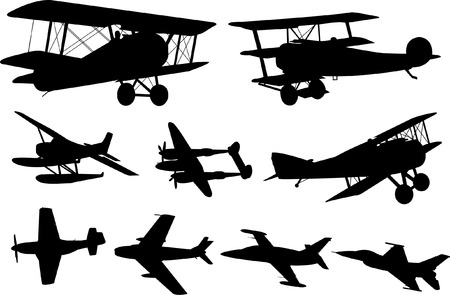 commercial airplane: airplanes collection - vector