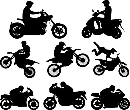 motorcyclists silhouettes - vector Stock Vector - 4635598