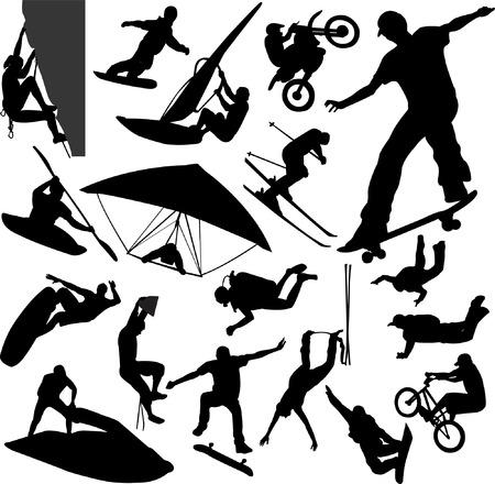 adrenalina: deportes extremos siluetas - vector