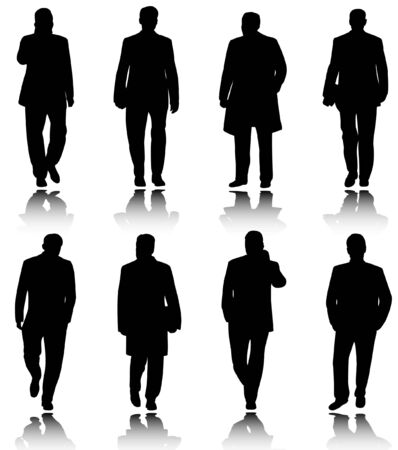 man profile: business people silhouettes - vector Illustration