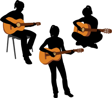 musician silhouette: girl playing guitar - vector