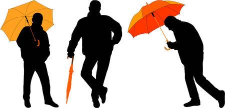 man with umbrella - vector Stock Vector - 4635597