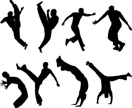 coordinacion: capoeira siluetas - vector Vectores