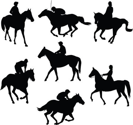 riding horse silhouettes - vector Vector