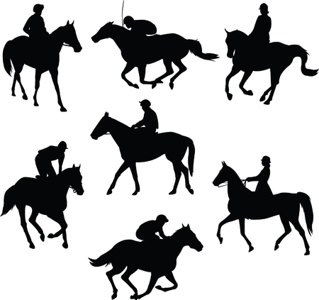 galloping: riding horse silhouettes - vector