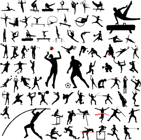 gymnastic: 80 high quality sport silhouettes - vector