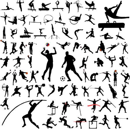 atletisch: 80 van hoge kwaliteit sport silhouetten - vector Stock Illustratie