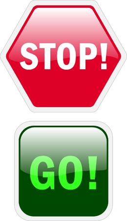 stop and go glossy buttons - vector Stock Vector - 4760272