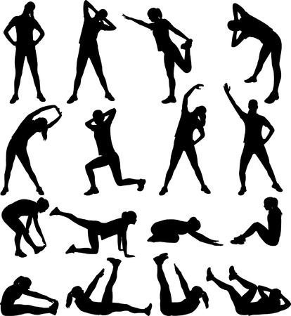mujer el ejercicio de siluetas-vector