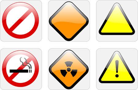 radioactive warning symbol: warning signs - vector
