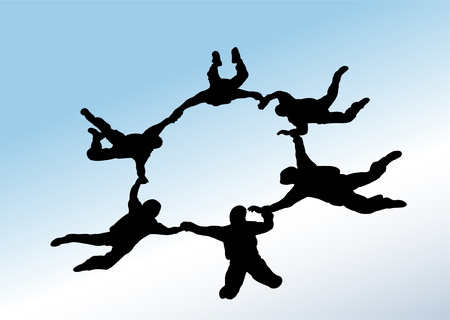 skydiver: skydivers formation - vector
