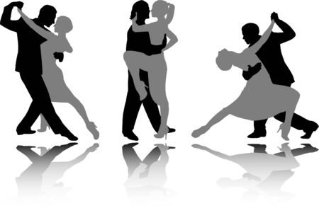 dance couples silhouettes - vector Illustration