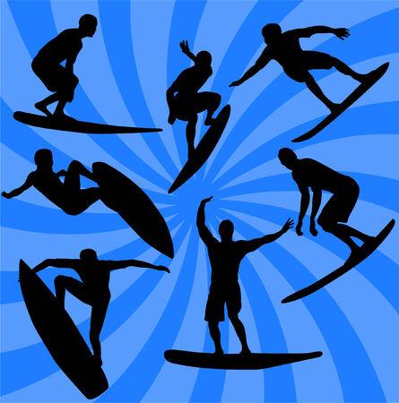 surfer vector: wave surfing - vector