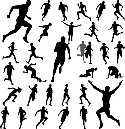running fast: people running collection - vector