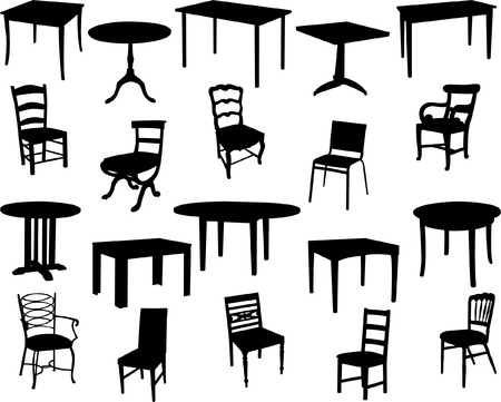 tables and chairs collection - vector Stock Vector - 4893467