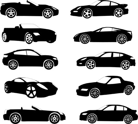 motorway: sport cars collection - vector Illustration