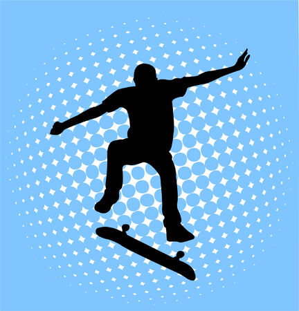 skateboarder: skateboarder on the halftone abstract background - vector Illustration