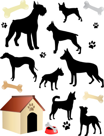 dogs silhouettes - vector Vector