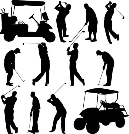 caddy: golfers collection - vector