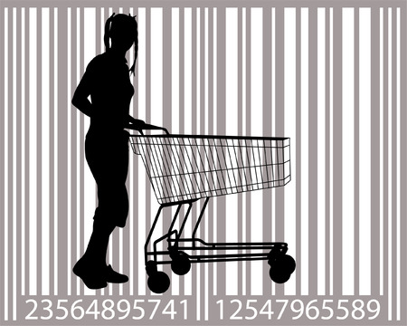 costumer: attractive young woman with shopping cart, with bar-code as background Illustration