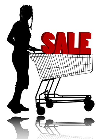 attractive young woman with shopping cart (sale concept) Vector
