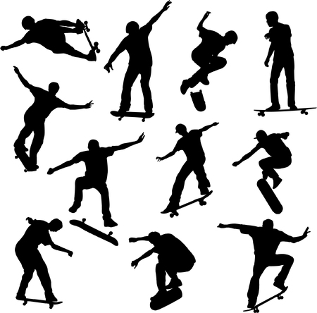 skaters: skateboarders silhouettes - vector