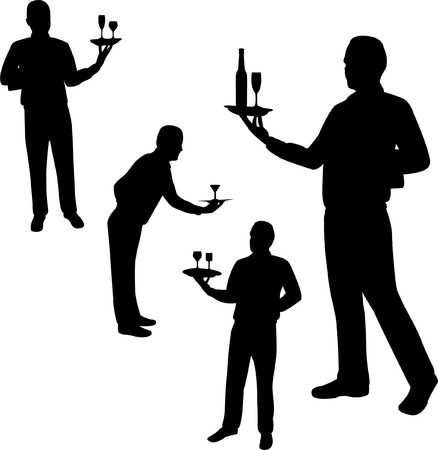 men bars: waiters silhouettes - vector Illustration