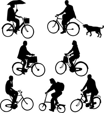 helmet seat: people riding bicycles - vector