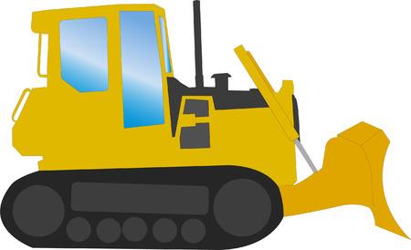 wheeled tractor: bulldozer - vector