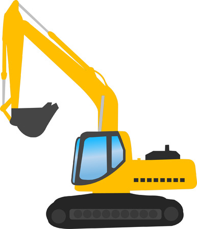 excavate: excavator - vector