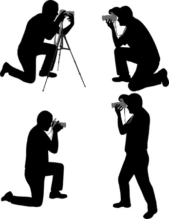 sharpness: photographers silhouettes - vector