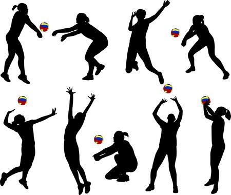 volley bal spelers silhouetten - vector
