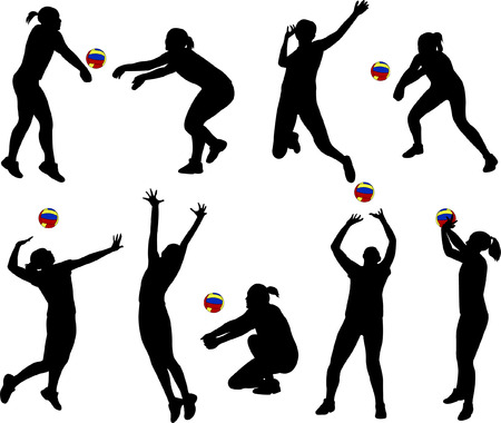 female athletes: volleyball players silhouettes - vector Illustration