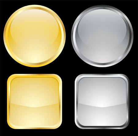 blank gold and metallic buttons - vector Vector