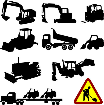 excavate: construction machines collection - vector