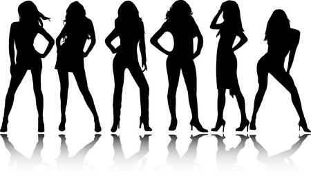 beautiful women silhouettes - vector Vector