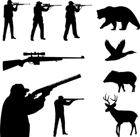 deers: caza colecci�n siluetas - vector