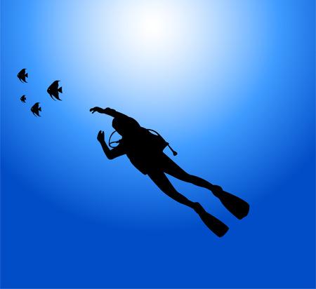 scuba diver - vector