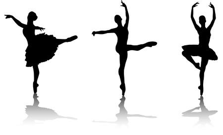 ballet dancer: ballet dancers silhouette - vector