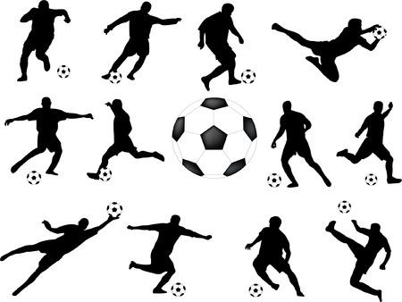 jugadores de soccer: jugadores de f�tbol de recogida - vector