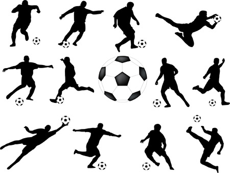 practise: soccer players collection - vector
