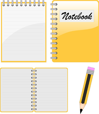 notebook, notepad and pencil Vector