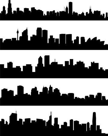 panorama cities collection - vector Stock Vector - 5006281