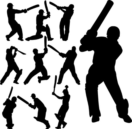 crickets: cricket players silhouettes collection - vector