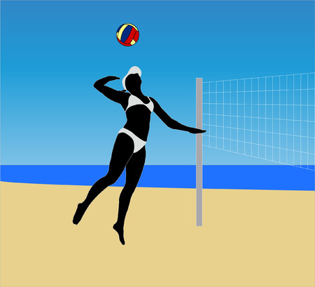 beach volley illustration - vector Vector