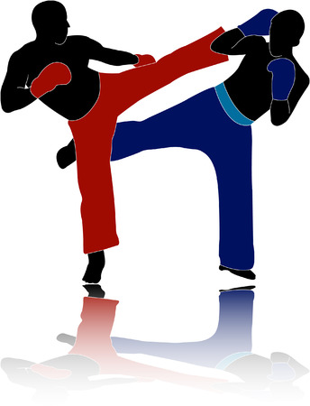 male boxer: kick-boxers - vector