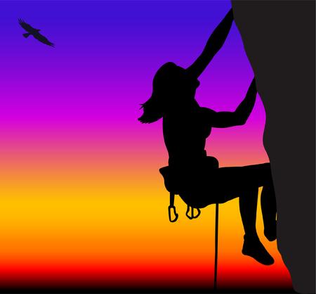 adrenalina: mujer, la escalada en roca - vector