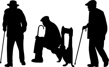 canes: vecchi uomini con canna - vettore Vettoriali