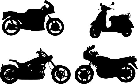 motorcycles silhouettes - vector Illustration
